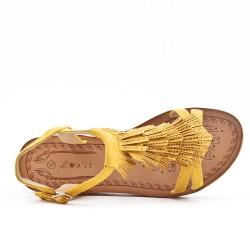 Sandale jaune à frange