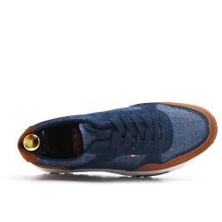 Zapatilla con cordones bi-material azul