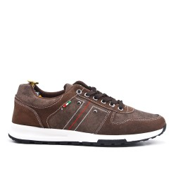 Brown bi-material lace-up sneaker