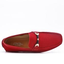 Mocassin rouge en simili cuir