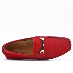 Red imitation leather moccasin