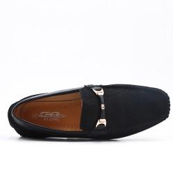 Mocassin noire en simili cuir