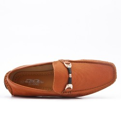 Camel moccasin in faux leather