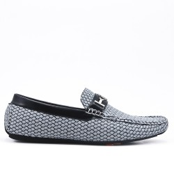Gray loafer with checks
