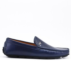 Navy moccasin imitation leather