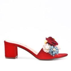Claquette rouge à fleur