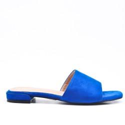 Claquette bleu en simili daim