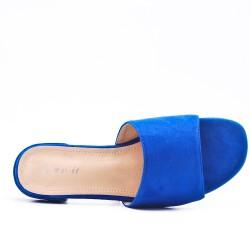 Blue flap in faux suede