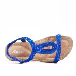 Blue sandal with rhinestones