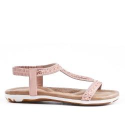 Sandale rose orné de strass