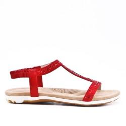Red sandal with rhinestones