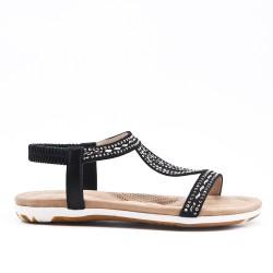 Black sandal with rhinestones