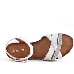 White strap sandal with rhinestones