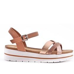 Pink strap sandal with rhinestones