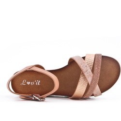 Sandale rose à bride ornée de strass