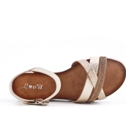 Beige strap sandal with rhinestones