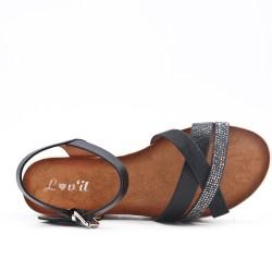 Black strap sandal with rhinestones