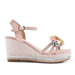 Pink wedge sandal