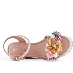 Sandale compensée rose à fleurs