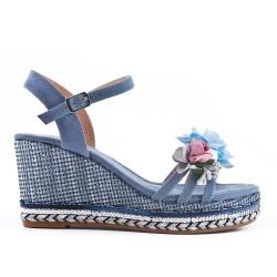 Blue wedge sandal