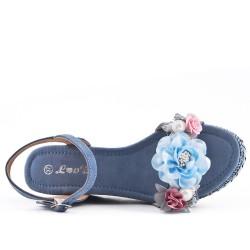 Sandale compensée bleu à fleurs