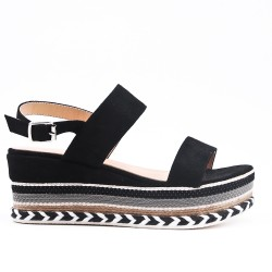 Buckled black wedge sandal