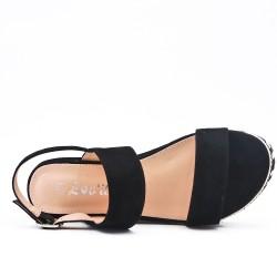 Sandale compensée noire à boucle