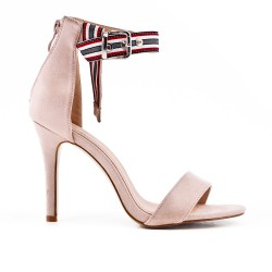 Pink faux bucked suede sandal