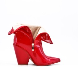 Red patent ankle boot