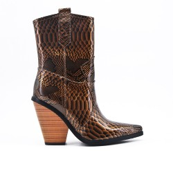 Snake ankle boot in faux leather with heel