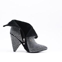 Black ankle with rhinestones