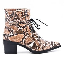 Snake ankle boot with faux leather lace