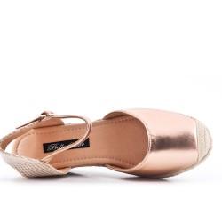 Sandale compensée champagne en simili cuir