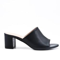 Black imitation leather sling with heel