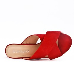 Red flap in faux suede