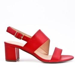 Sandalia de piel imitación rojo con tacón