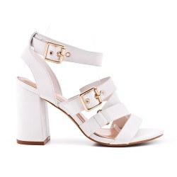 Sandale blanche en simili cuir à boucle