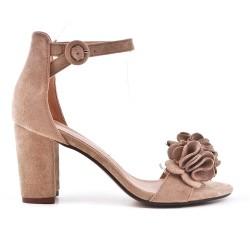 Sandale beige en simili daim à fleur