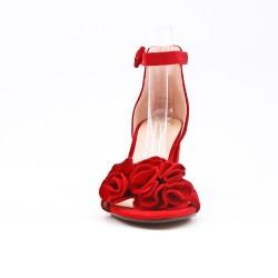 Sandale rouge en simili daim à fleur