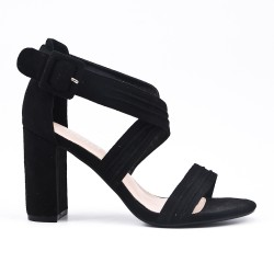 Black faux bucked suede sandal