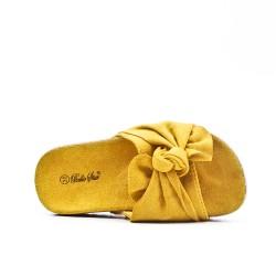 Claquette fille jaune à nœud