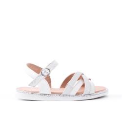 Sandale fille blanche en simili cuir