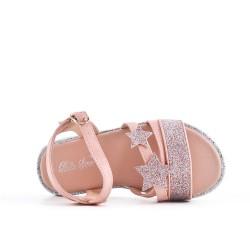 Sandale fille rose à motif étoile