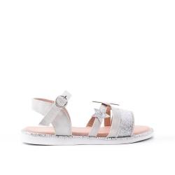 Sandale fille grise à motif étoile