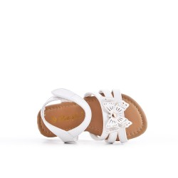 White girl sandal with butterfly pattern