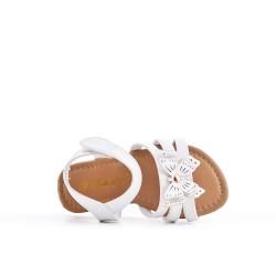 Sandale fille blanche à motif papillon