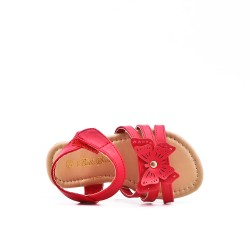 Red girl sandal with butterfly pattern