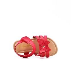 Sandalia niña rojo con estampado de mariposas.