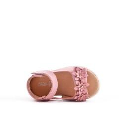 Sandale fillette rose à fleur