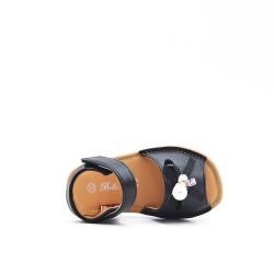 Sandale fillette noire à nœud